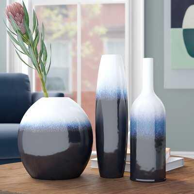 3 Piece Samsel Navy/White Indoor/Outdoor Ceramic Table Vase Set - Wayfair
