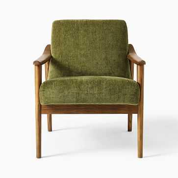 Midcentury Show Wood Chair, Poly, Distressed Velvet, Tarragon, Pecan - West Elm