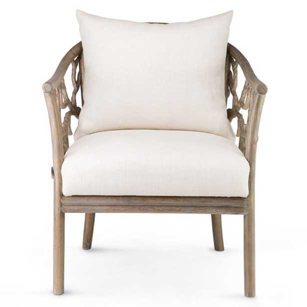 Betina Rustic Lodge Ivory Linen Brown Mahogany Wood Arm Chair - Kathy Kuo Home