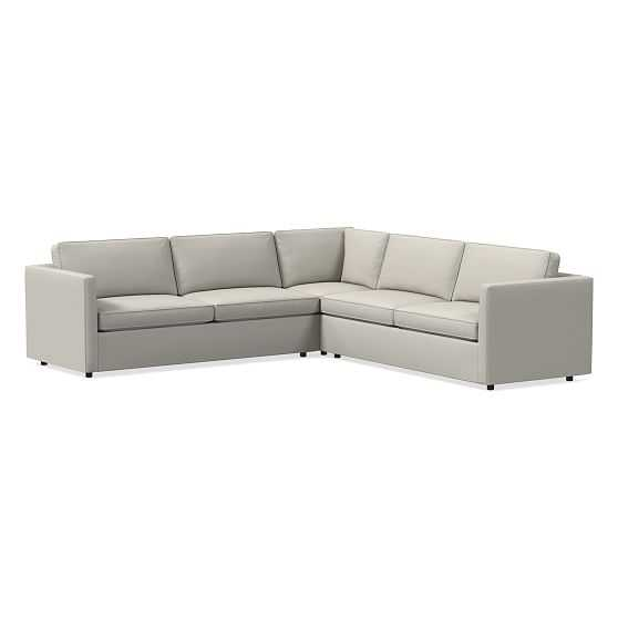 """Harris Sectional40: Petite Left Arm 75"""" Sofa, Petite Corner, Petite Right Arm 75"""" Sofa, Poly, PBS, Feather Gray, Concealed Supports - West Elm"""