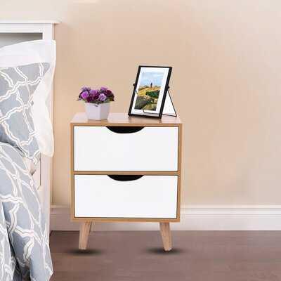 Lee 2 - Drawer Solid Wood Nightstand in Brown/White - Wayfair