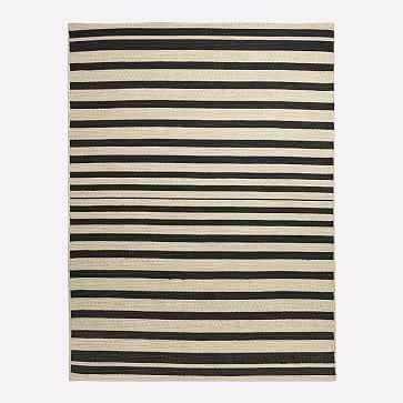 Woven Cable Stripe All Weat Rug, 8'x10', Black - West Elm