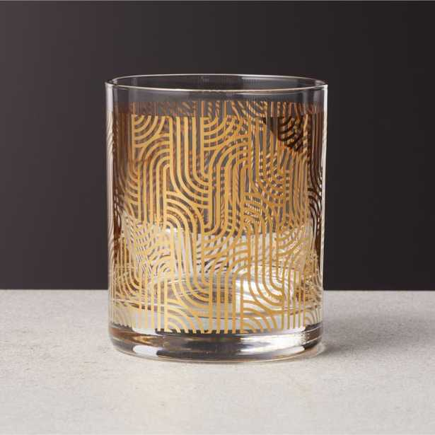 Lindy Gold Metallic Double Old-Fashioned Glass - CB2