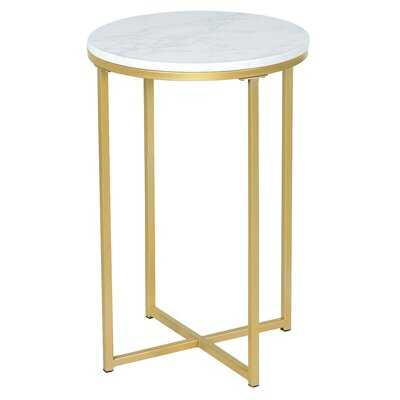 X-Shaped Marble Top Small Round Side Table End Table - Wayfair