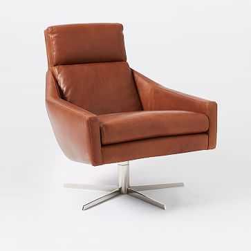 Austin Leather Swivel Chair, Aspen Leather, Chestnut, Polished Nickel, Set of 2 - West Elm