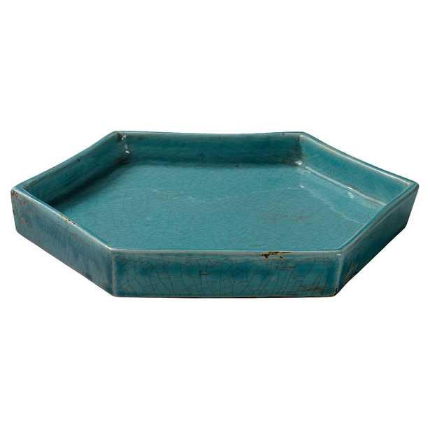 Jett Coastal Beach Novelty Turquoise  Ceramic Tray - Kathy Kuo Home
