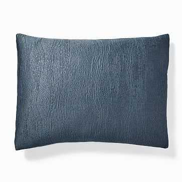 Silky TENCEL Cotton Matelasse Duvet, Standard Sham, Stormy Blue - West Elm