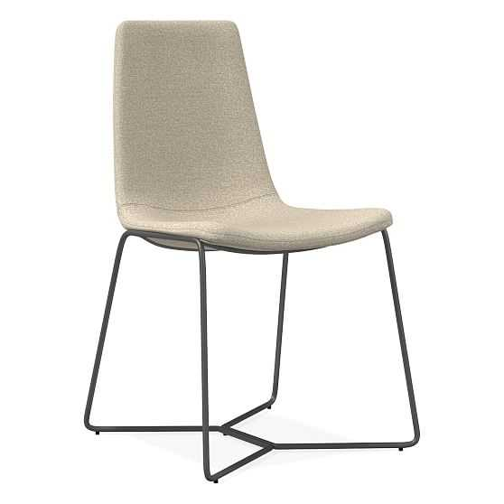 Slope Dining Chair, Chenille Tweed, Silver Gray Charcoal - West Elm
