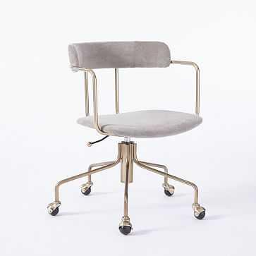 Lennox Office Chair, Worn Velvet, Metal - West Elm