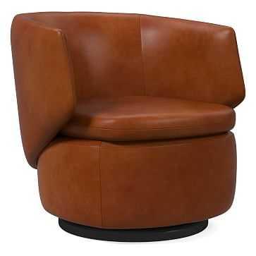 Crescent Swivel Chair, Poly, Vegan Leather, Saddle - West Elm