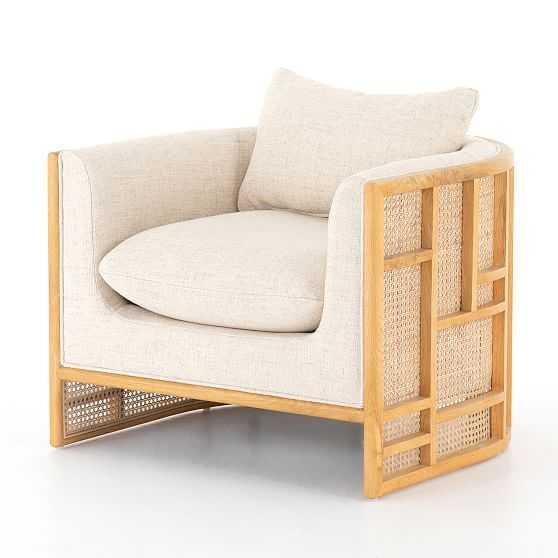 Upholstered Oak Rattan Chair, Cream - West Elm
