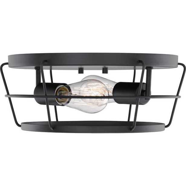 Progress Lighting Glavin 13 in. 2-Light Matte Black Flush Mount - Home Depot