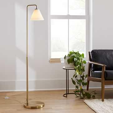 "Sculptural Floor Lamp, Cone, 8"", Milk, Antique Brass - West Elm"