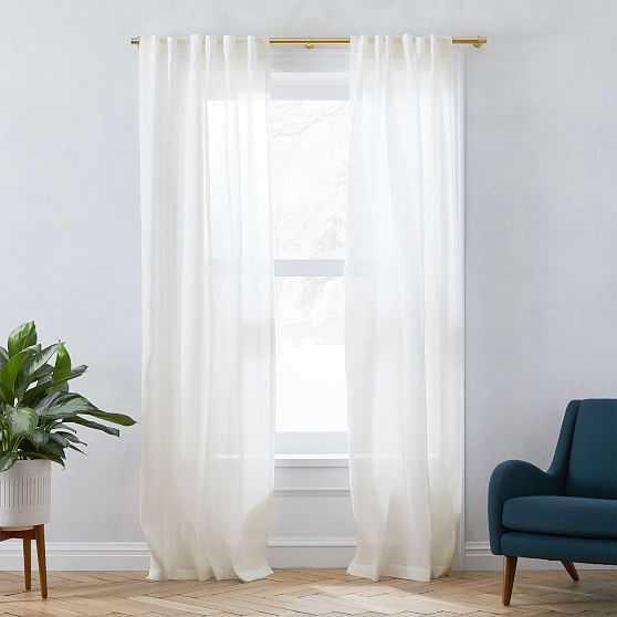 """Sheer European Flax Linen Curtain, Alabaster, 48""""x96"""" - West Elm"""
