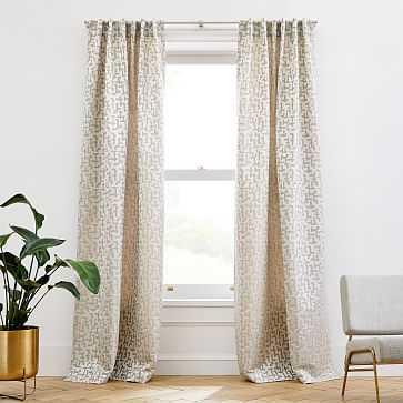 "Maze Jacquard Curtain, Belgian Flax, 48""x84"" - West Elm"