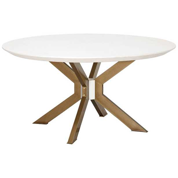 """Industry 60"""" Wide Ivory and Brass Round Dining Table - Style # 86P76 - Lamps Plus"""