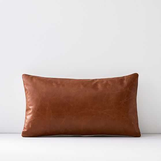 """Leather Pillow Cover, 12""""x21"""", Saddle - West Elm"""