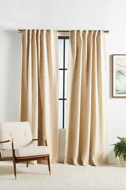 Luxe Linen Blend Curtain By Anthropologie in Beige Size 50X63 - Anthropologie