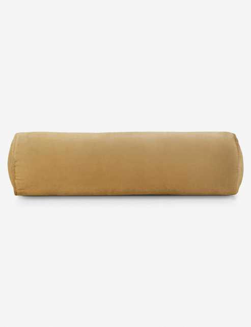 Sabine Velvet Bolster Pillow, Mustard - Lulu and Georgia