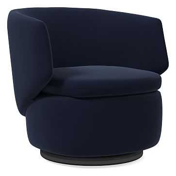 Crescent Swivel Chair, Distressed Velvet, Ink Blue - West Elm