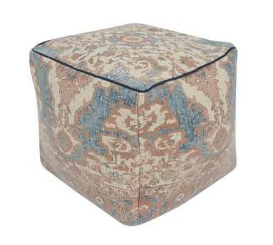 "Persian Printed Pouf, 17x17x18"", Blue Multi - Pottery Barn"
