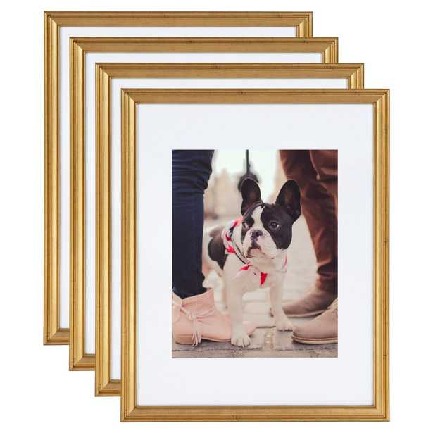 Kate and Laurel Adlynn 11 in. x 14 in. matted to 8 in. x 10 in. Gold Picture Frames (Set of 4) - Home Depot