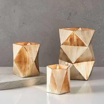 Prism Mecury Vase, Mixed Sizes, Gold, Set of 3 - West Elm
