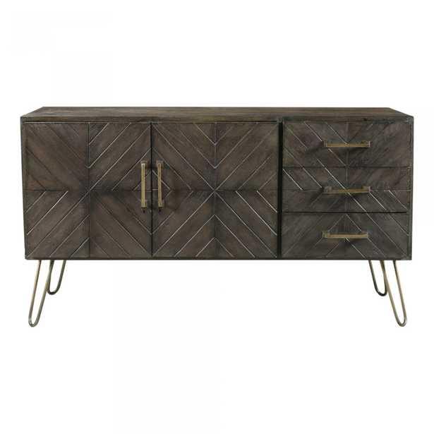 David Rustic Lodge Dark Brown Mango Wood Geometric Acccent Sideboard - Kathy Kuo Home