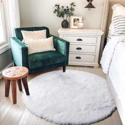 White Round Rug For Bedroom,Fluffy Circle Rug 4'X4' For Kids Room,Furry Carpet For Teen's Room,Shaggy Circular Rug For Nursery Room,Fuzzy Plush Rug For Dorm,White Carpet,Cute Room Decor For Baby - Wayfair