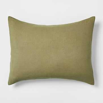 Belgian Flax Linen Standard Sham, Camo Olive - West Elm