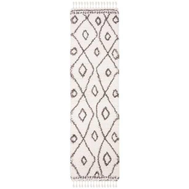 Safavieh Moroccan Fringe Shag Ivory/Grey 2 ft. x 8 ft. Runner Rug, Ivory/Gray - Home Depot