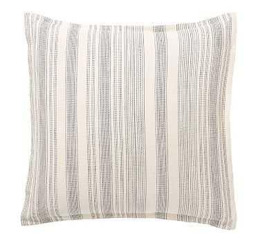 "Hawthorn Stripe Cotton Sham, 26"" x 26"", Euro, Charcoal - Pottery Barn"