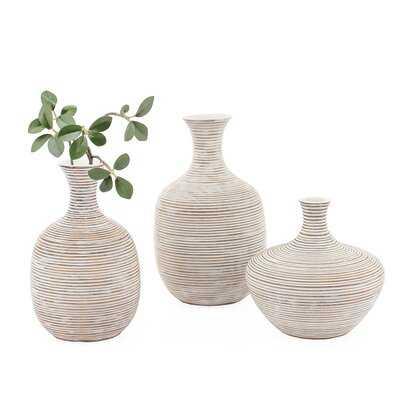 Palomo Ribbed Resin Bulb Table Vase - Wayfair