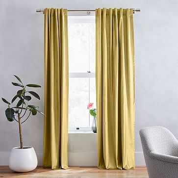 "Luster Velvet Curtain, Wasabi, 48""x96"" - West Elm"