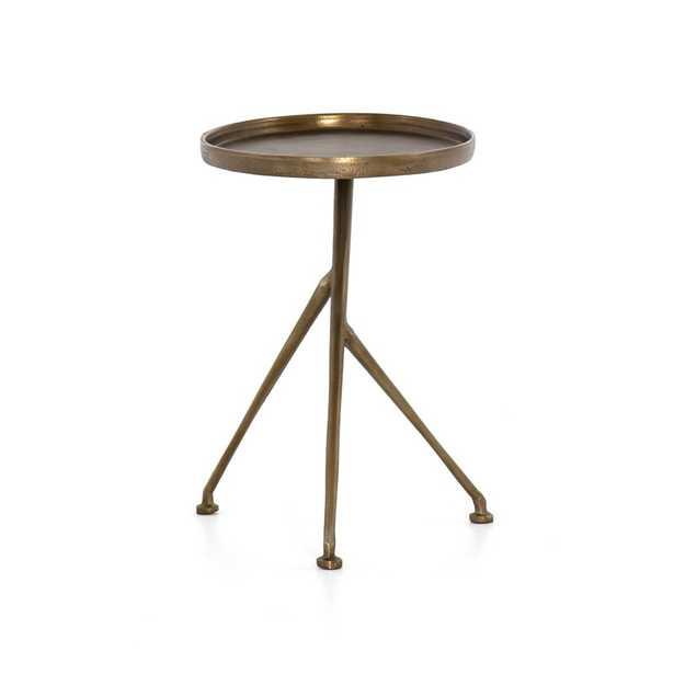 Four Hands Schmidt Aluminum Side Table Color: Raw Antique Brass - Perigold