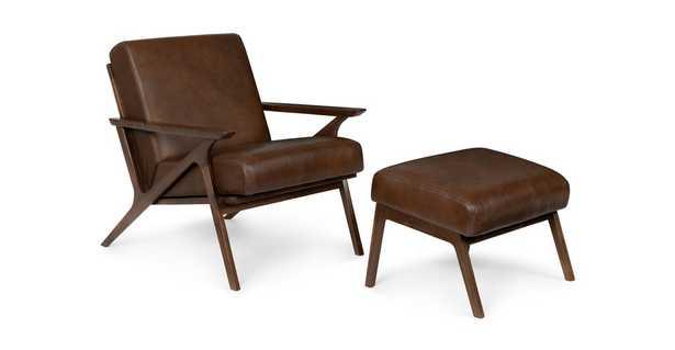 Otio Brown Leather Walnut Lounge Set - Article