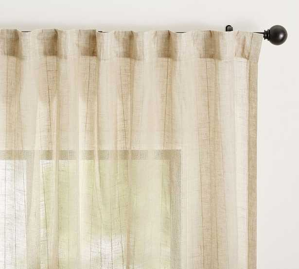 "Emery Pinstripe Rod Pocket Sheer Curtain, 50 x 108"", Oatmeal - Pottery Barn"