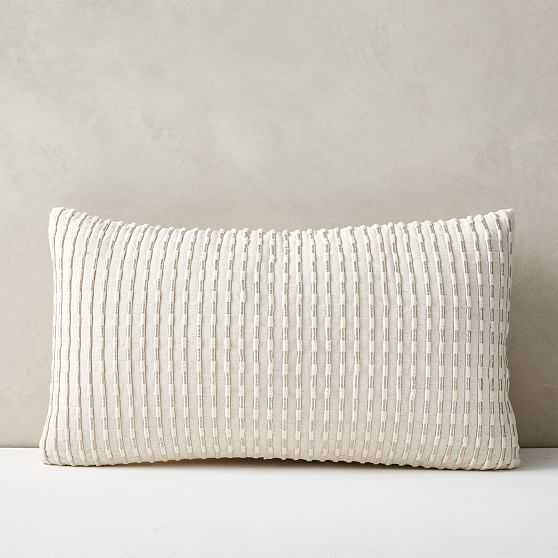 """Corded Metallic Pillow Cover, 12""""x21"""", Natural - West Elm"""
