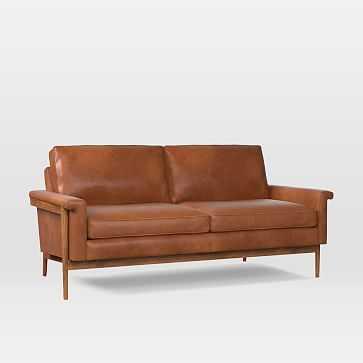 "Leon Wood Frame 68"" Sofa, Poly, Vegan Leather, Saddle, Pecan - West Elm"