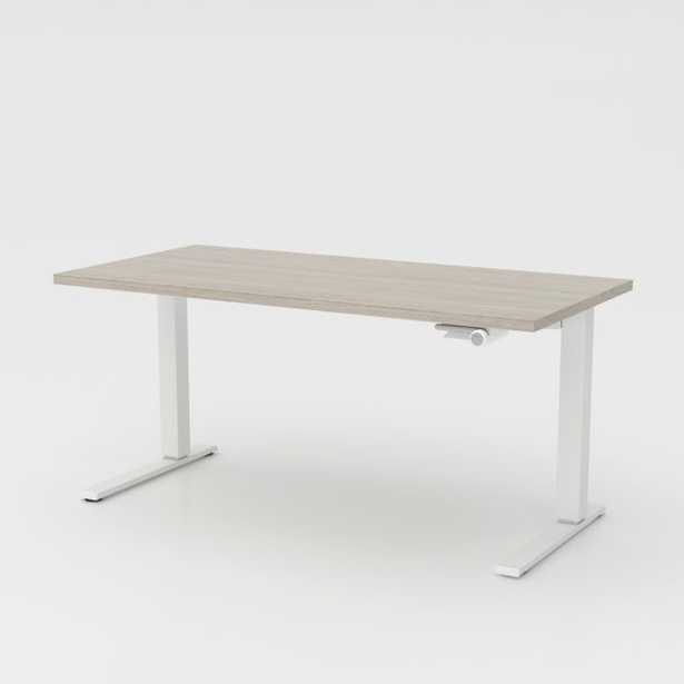 """Humanscale ® Float ® Sit/Stand 60"""" Ash Grey Desk - Crate and Barrel"""