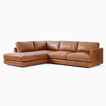 Haven Sectional Set 02: Right Arm Sofa, Left Arm Terminal Chaise, Poly, Saddle Leather, Nut - West Elm