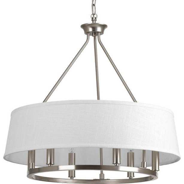 Progress Lighting Cherish Collection 6-Light Brushed Nickel Chandelier with Summer Linen Shade - Home Depot