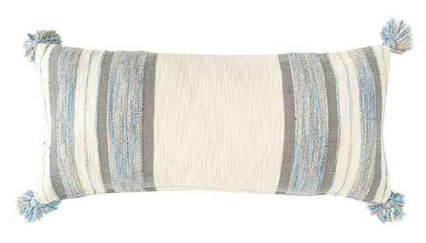 Blue, Grey & Cream Striped Cotton Blend Lumbar Pillow with Tassels - Nomad Home
