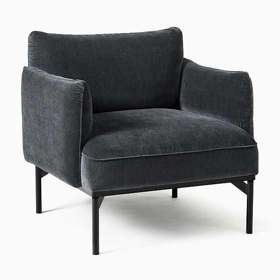 Penn Chair, Modern Chenille, Slate Black - West Elm