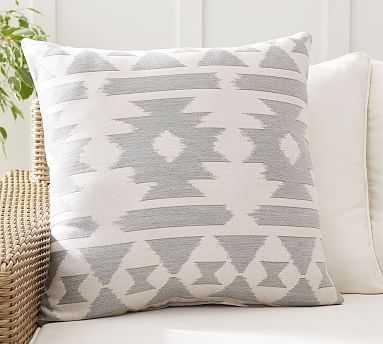 "Sunbrella(R) Arlo Geo Jaquard Indoor/Outdoor Pillow, 24"" x 24"", Gray Multi - Pottery Barn"