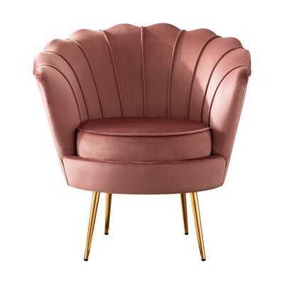 Velvet Upholstered Accent Chair, Pink, Set Of 1 - Wayfair