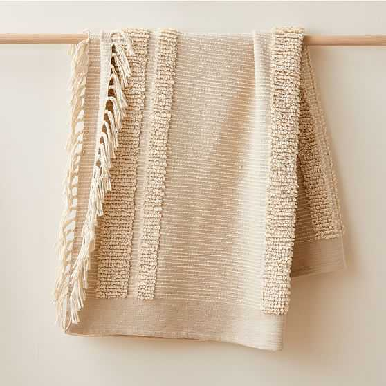 """Tufted Lines Throw, 50""""x60"""", Natural - West Elm"""