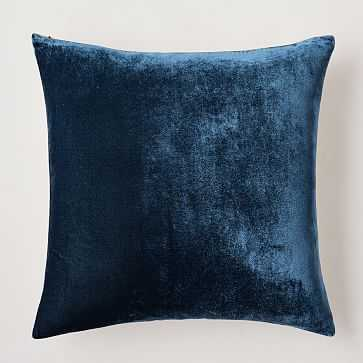 "Lush Velvet Pillow Cover, 20""x20"", Regal Blue - West Elm"