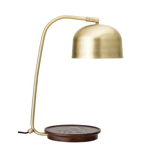 Brass Metal Table Lamp with Wood Tray Base & In-Line Switch - Moss & Wilder