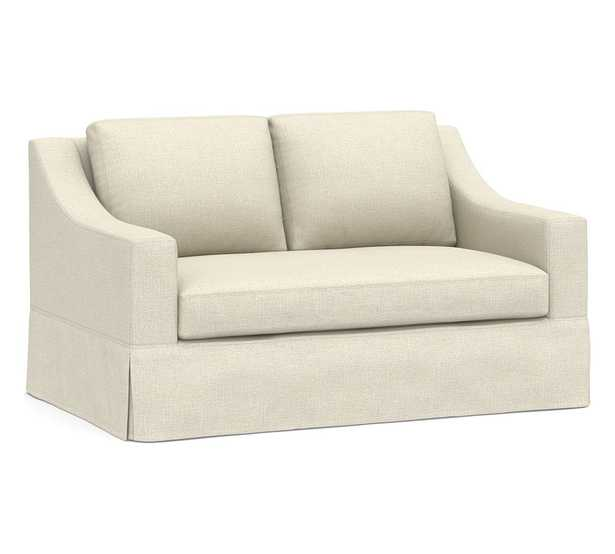 """York Slope Arm Slipcovered Loveseat 60.5"""" with Bench Cushion, Down Blend Wrapped Cushions, Basketweave Slub Oatmeal - Pottery Barn"""